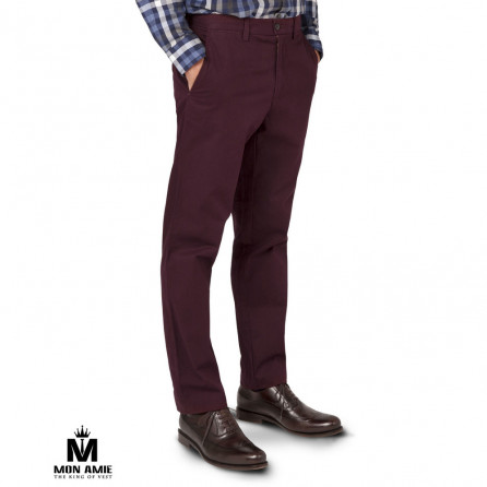 Men Regular Trouser in Dark Cherry